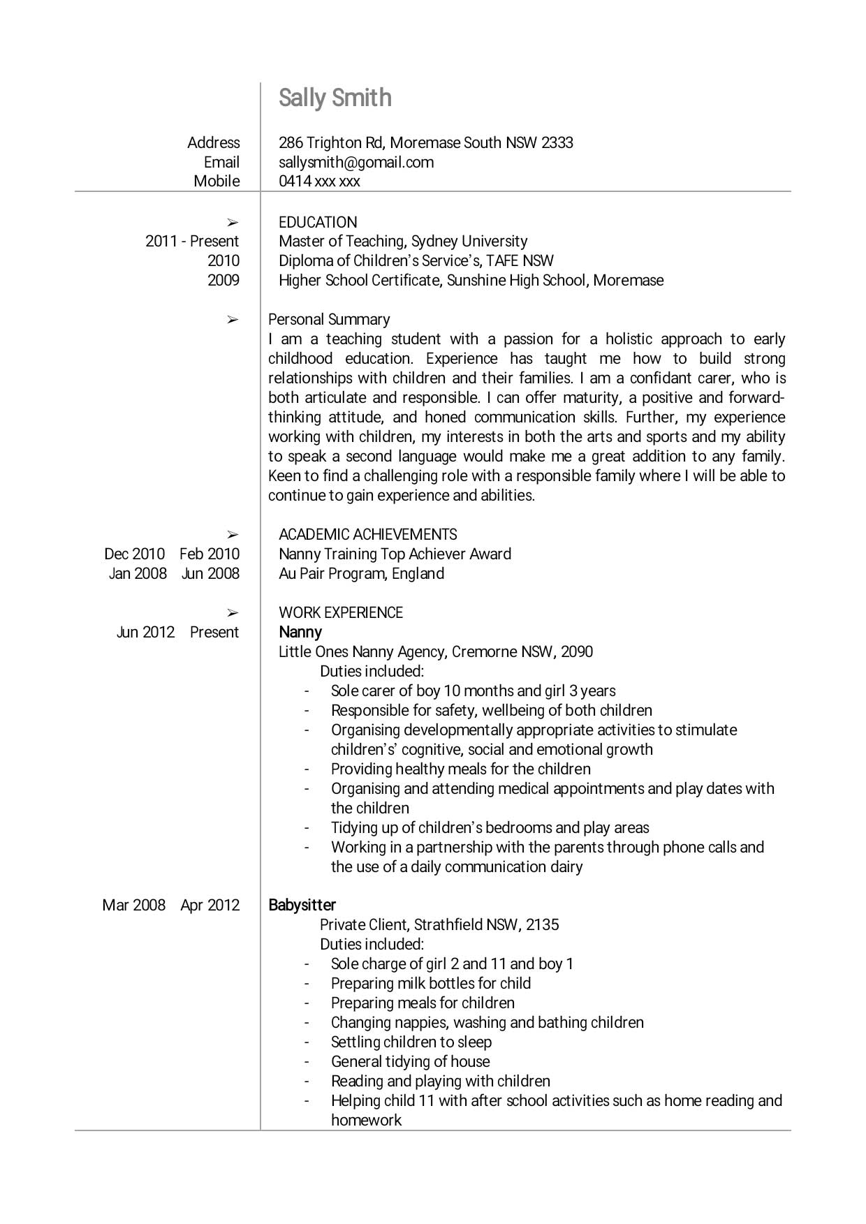 creating your cv nanny agency the nanny collective jpeg cv pg 1